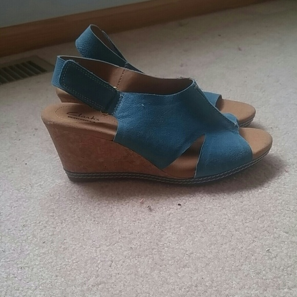 9fd739596 Clarks Shoes - Clarks turquoise suede wedges size 7.5 w NWOT